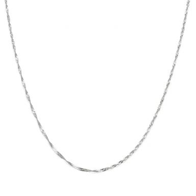 "14K White Gold Chain for Men Singapore 1.6mm Thick, 19.7"" Length"