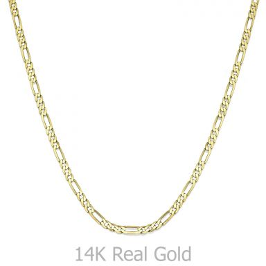 "14K Yellow Gold Chain for Men Figaro 3.06mm Thick, 19.7"" Length"