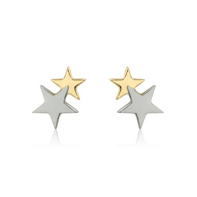 Stud Earrings in 14K White & Yellow Gold - Two Stars