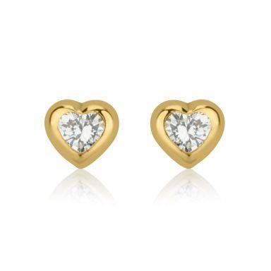 Stud Earrings in 14K Yellow Gold - Sparkling Heart