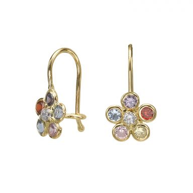 Dangle Earrings in14K Yellow Gold - Michaella Flower