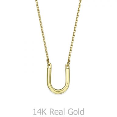 Pendant and Necklace in 14K Yellow Gold - Lucky Horseshoe