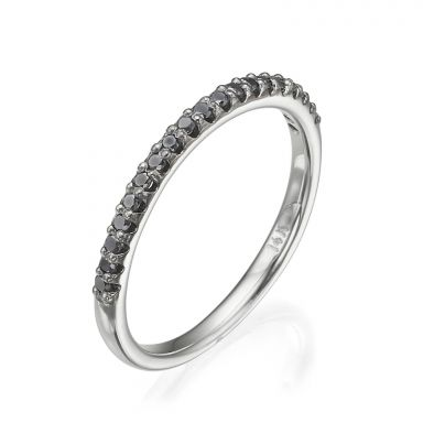 Black Diamond Band Ring in 14K White Gold - Ice Princess