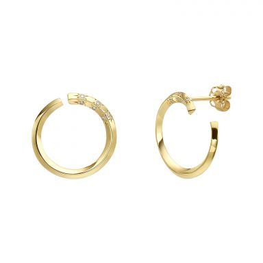 Diamond Stud Earrings in 14K Yellow Gold - Sunrise
