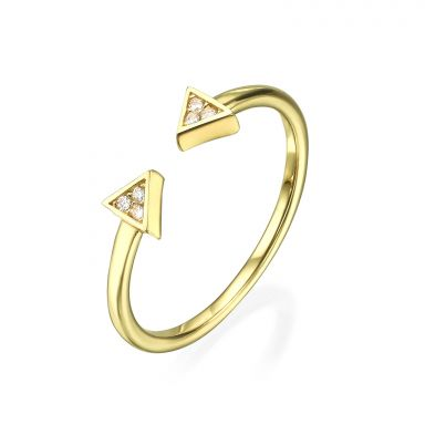 Open Ring in 14K Yellow Gold - Sparkling Triangles