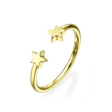 Open Ring in 14K Yellow Gold - Stars