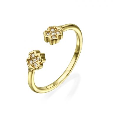 Open Ring in 14K Yellow Gold - Sparkling Clovers