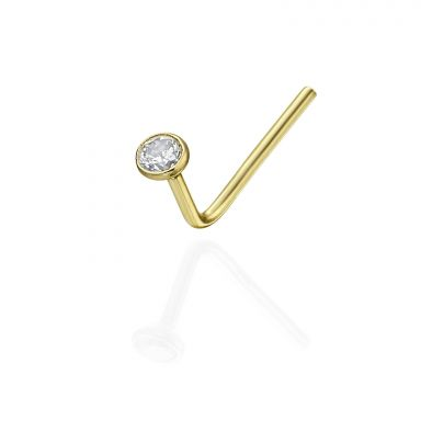 Curved Nose Stud Piercing in 14K Yellow Gold with Cubic Zirconia