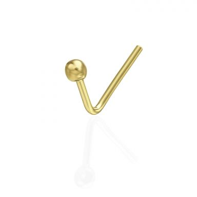 Curved Nose Stud Piercing in 14K Yellow Gold with Gold Ball