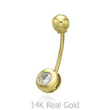 Belly Piercing in 14K Yellow Gold with Cubic Zirconia