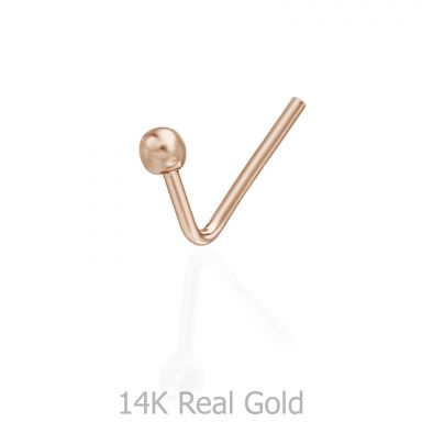 Curved Nose Stud Piercing in 14K Rose Gold with Gold Ball