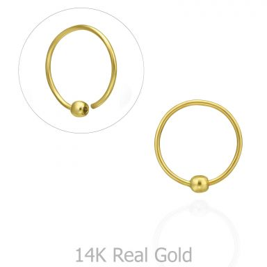 Helix / Tragus Piercing in 14K Yellow Gold with Gold Ball - Large