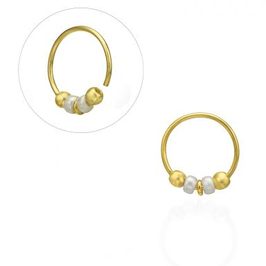 Helix / Tragus Piercing in 14K Yellow Gold with White Beads - Small
