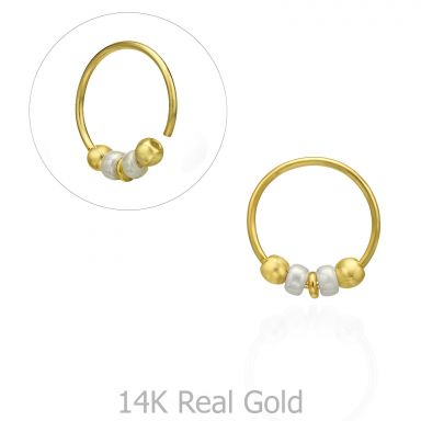Helix / Tragus Piercing in 14K Yellow Gold with Black Beads - Large