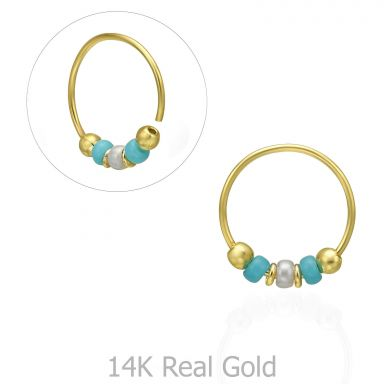Helix / Tragus Piercing in 14K Yellow Gold with Turquoise Beads - Large