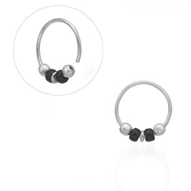 Helix / Tragus Piercing in 14K White Gold with Black Beads - Small