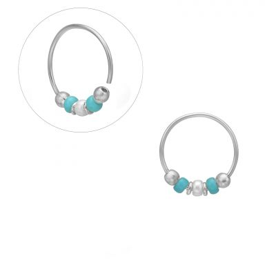 Helix / Tragus Piercing in 14K White Gold with Turquoise Beads - Small