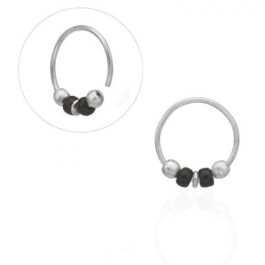 Helix / Tragus Piercing in 14K White Gold with White Beads - Large