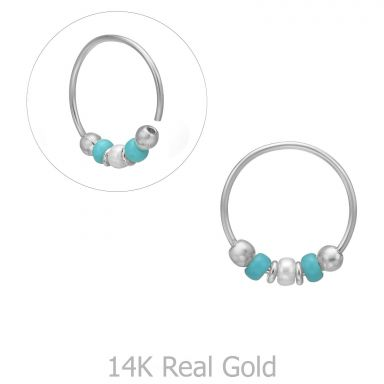 Helix / Tragus Piercing in 14K White Gold with Turquoise Beads - Large