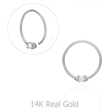 Helix / Tragus Piercing in 14K White Gold with Cubic Zirconia - Large