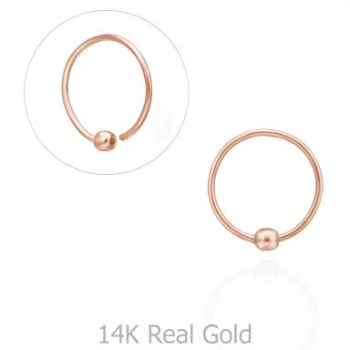 Helix / Tragus Piercing in 14K Rose Gold with Gold Ball - Large