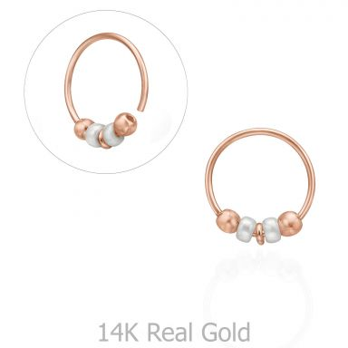 Helix / Tragus Piercing in 14K Rose Gold with Black Beads - Large