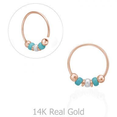 Helix / Tragus Piercing in 14K Rose Gold with Turquoise Beads - Large