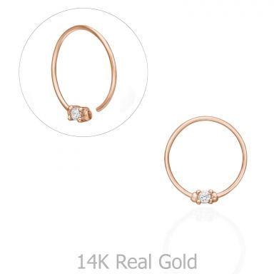 Helix / Tragus Piercing in 14K Rose Gold with Cubic Zirconia - Small