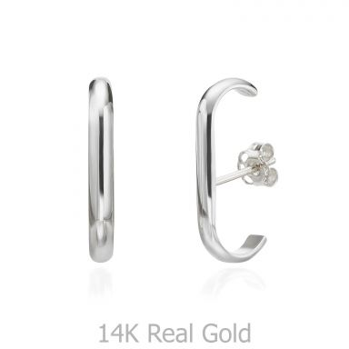 Cuff Earrings in 14K White Gold  - Sunshine