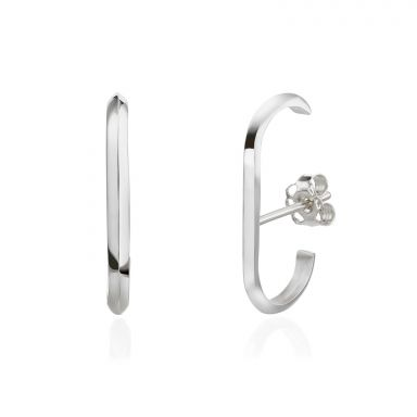 14K White Gold Women's Earrings - Twist