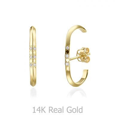 Diamond Cuff Earrings in 14K Yellow Gold - Twist