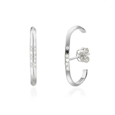 Diamond Cuff Earrings in 14K White Gold - Twist