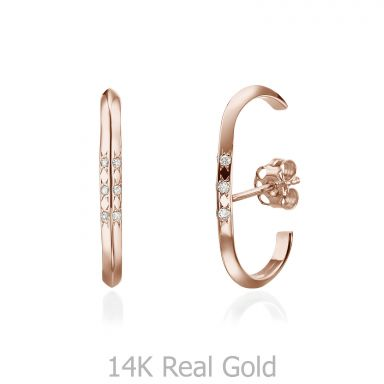 Diamond Cuff Earrings in 14K Rose Gold - Twist