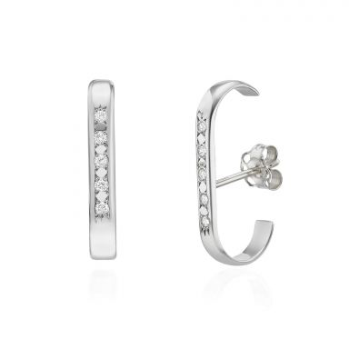 Diamond Cuff Earrings in 14K White Gold - High-Five