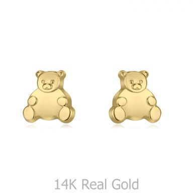 14K Yellow Gold Kid's Stud Earrings - Smiling Teddy