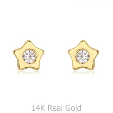 14K Yellow Gold Kid's Stud Earrings - Sparkling Star - Delicate
