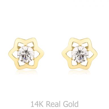 Stud Earrings in 14K Yellow Gold - Prestigious Star