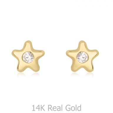 14K Yellow Gold Kid's Stud Earrings - The Nili Star