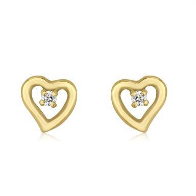 Stud Earrings in 14K Yellow Gold - Poetic Heart