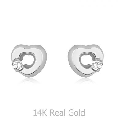 14K White Gold Kid's Stud Earrings - Symphonic Heart
