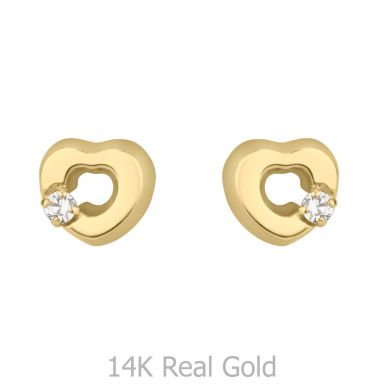 14K Yellow Gold Kid's Stud Earrings - Cheerful Heart