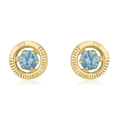 14K Yellow Gold Kid's Stud Earrings - Topaz Circle