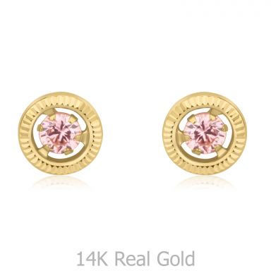 14K Yellow Gold Kid's Stud Earrings - Circle of Dawn
