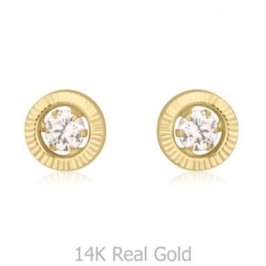 Stud Earrings in 14K Yellow Gold - Crystal Circle