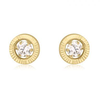 14K Yellow Gold Kid's Stud Earrings - Crystal Circle