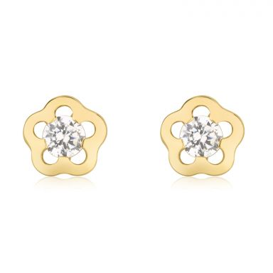 14K Yellow Gold Kid's Stud Earrings - Jasmine Flower - Small