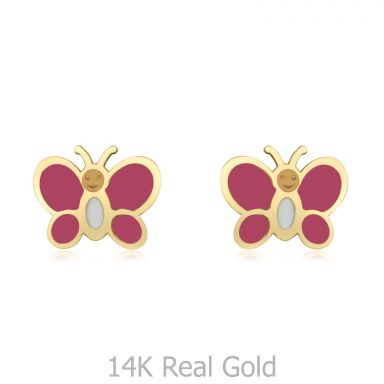14K Yellow Gold Kid's Stud Earrings - Colorful Butterfly