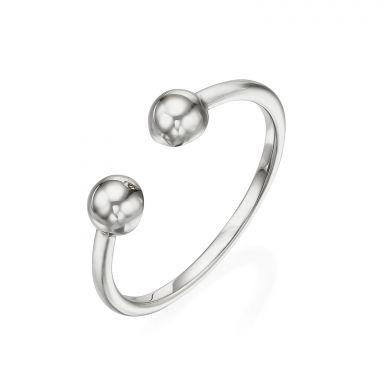 14K White Gold Rings - Golden Circles