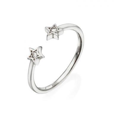 Open Ring in 14K White Gold - Shinning Stars
