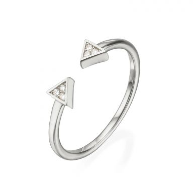 14K White Gold Rings - Sparkling Triangles